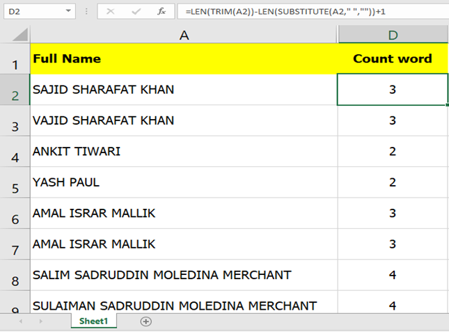 How to Delete Word and Count Total Words in a Cell in Excel?