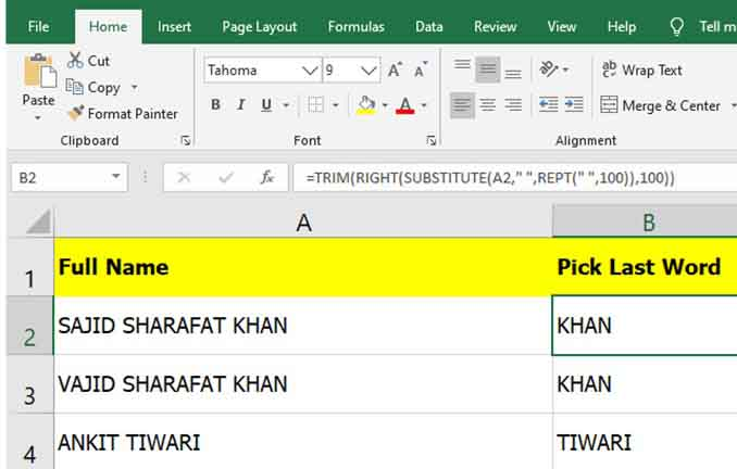 Excel formula to Pick Last Word or First word from a cell